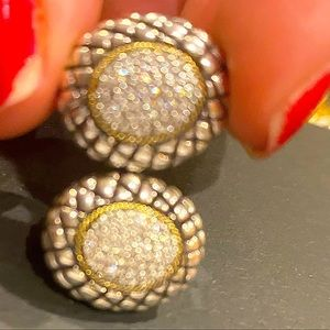 NEW Large Effy Real Natural Diamonds & Gold trim clip earrings! Super Sparkly!!